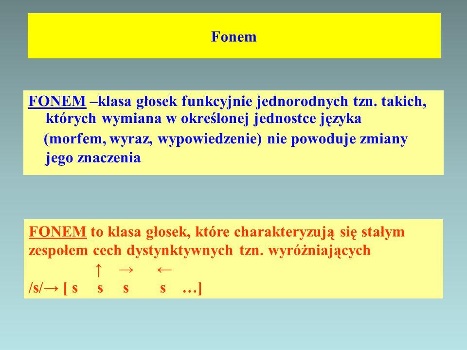 Fonem FONEM –klasa głosek funkcyjnie jednorodnych tzn. takich, których wymiana w określonej jednostce języka (morfem, wyraz, wypowiedzenie) nie powodu