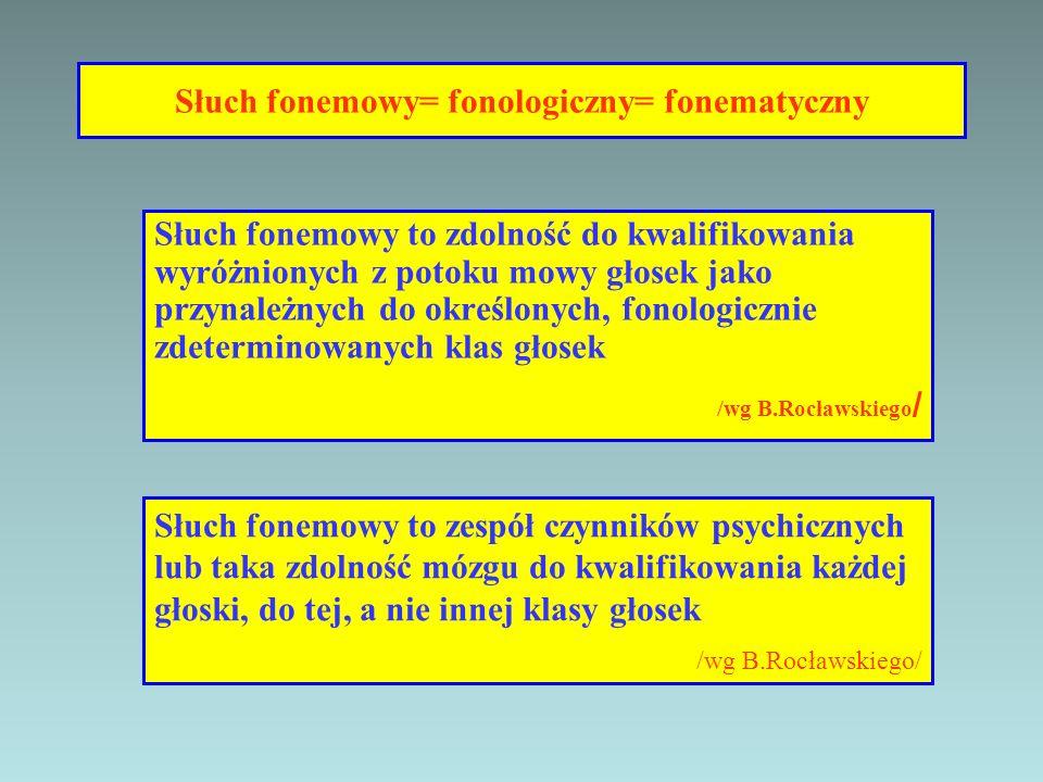 Słuch fonemowy= fonologiczny= fonematyczny Słuch fonemowy to zdolność do kwalifikowania wyróżnionych z potoku mowy głosek jako przynależnych do określ