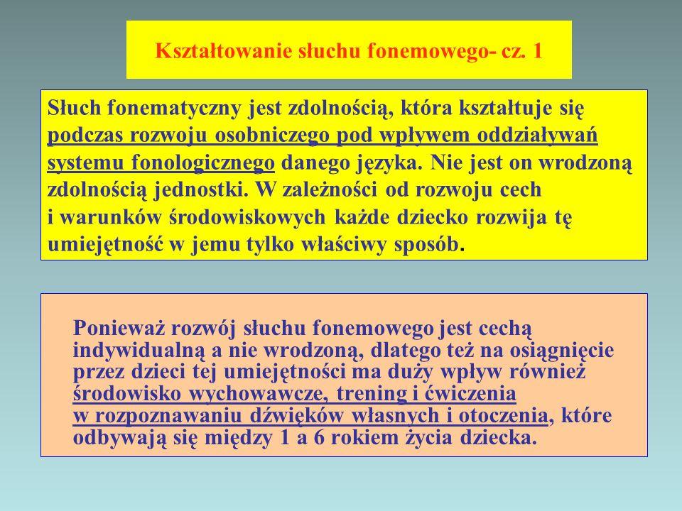 Kształtowanie słuchu fonemowego- cz. 1 Ponieważ rozwój słuchu fonemowego jest cechą indywidualną a nie wrodzoną, dlatego też na osiągnięcie przez dzie