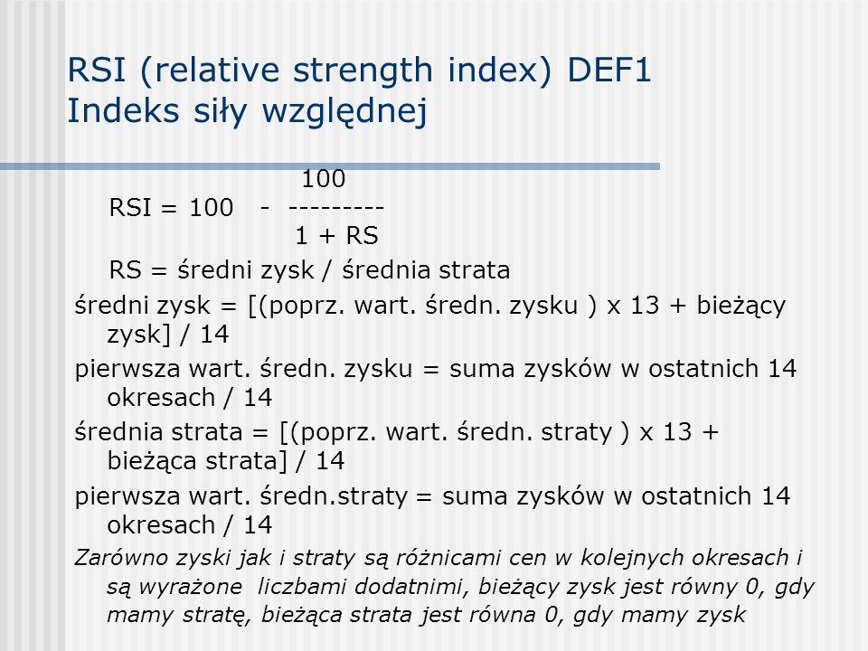 RSI (relative strength index) DEF1 Indeks siły względnej 100 RSI = 100 - --------- 1 + RS RS = średni zysk / średnia strata średni zysk = [(poprz. war