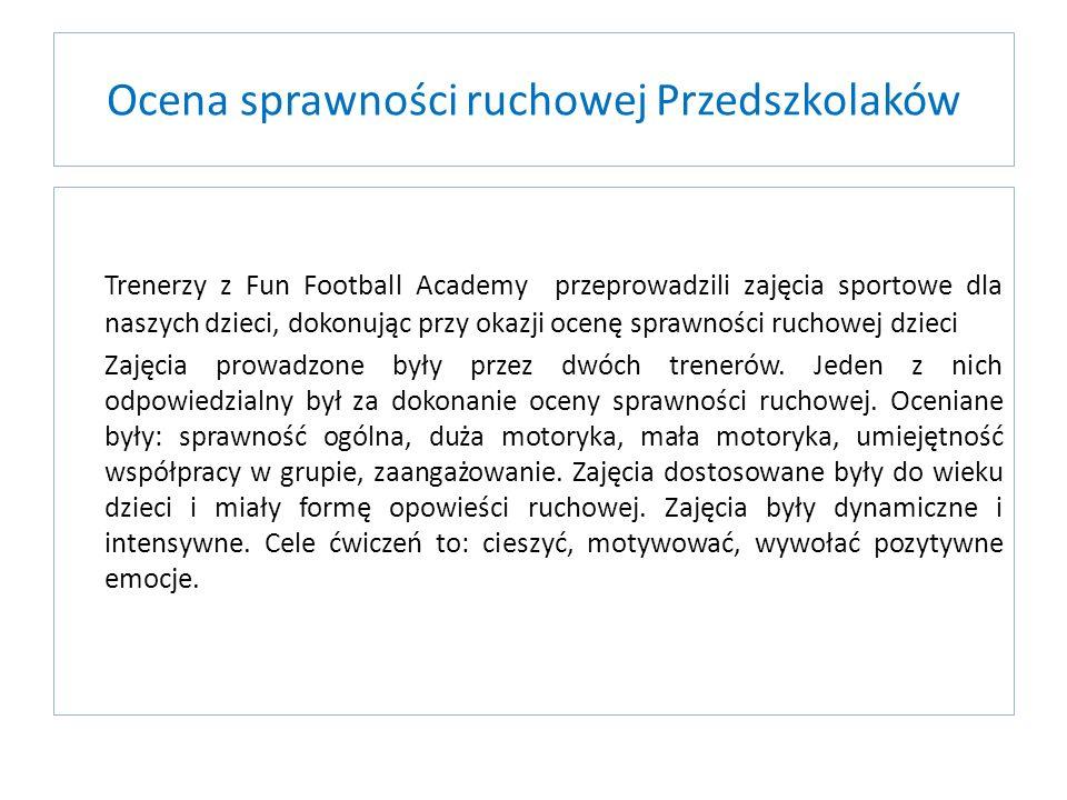 Ocena sprawności ruchowej Przedszkolaków Trenerzy z Fun Football Academy przeprowadzili zajęcia sportowe dla naszych dzieci, dokonując przy okazji oce