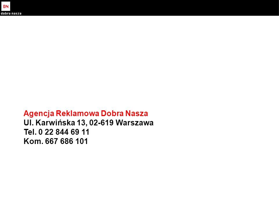 Agencja Reklamowa Dobra Nasza Ul. Karwińska 13, 02-619 Warszawa Tel.