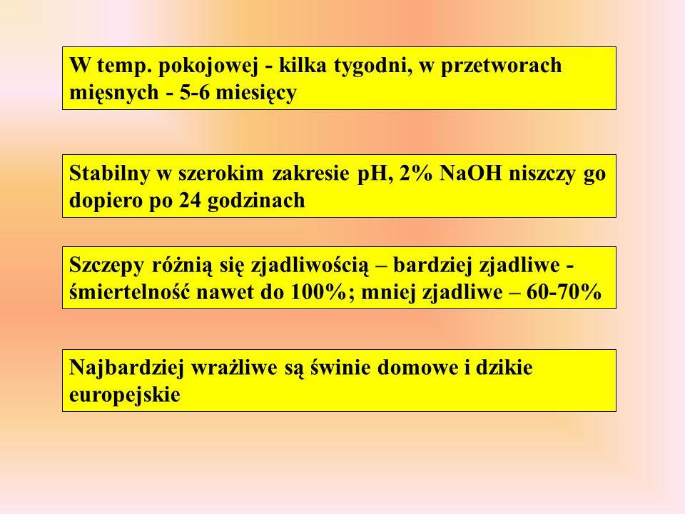 W temp. pokojowej - kilka tygodni, w przetworach mięsnych - 5-6 miesięcy Stabilny w szerokim zakresie pH, 2% NaOH niszczy go dopiero po 24 godzinach S