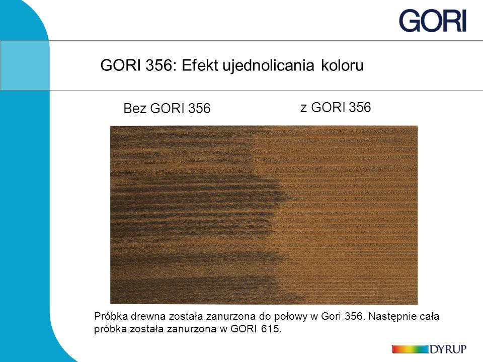 Próbka drewna została zanurzona do połowy w Gori 356. Następnie cała próbka została zanurzona w GORI 615. GORI 356: Efekt ujednolicania koloru Bez GOR