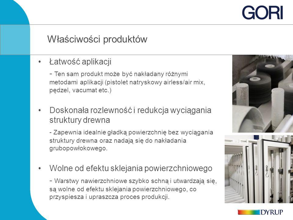 Właściwości produktów Łatwość aplikacji - Ten sam produkt może być nakładany różnymi metodami aplikacji (pistolet natryskowy airless/air mix, pędzel, vacumat etc.) Doskonała rozlewność i redukcja wyciągania struktury drewna - Zapewnia idealnie gładką powierzchnię bez wyciągania struktury drewna oraz nadają się do nakładania grubopowłokowego.