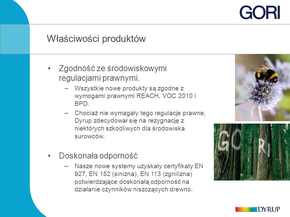 Zgodność ze środowiskowymi regulacjami prawnymi. –Wszystkie nowe produkty są zgodne z wymogami prawnymi REACH, VOC 2010 i BPD. –Chociaż nie wymagały t
