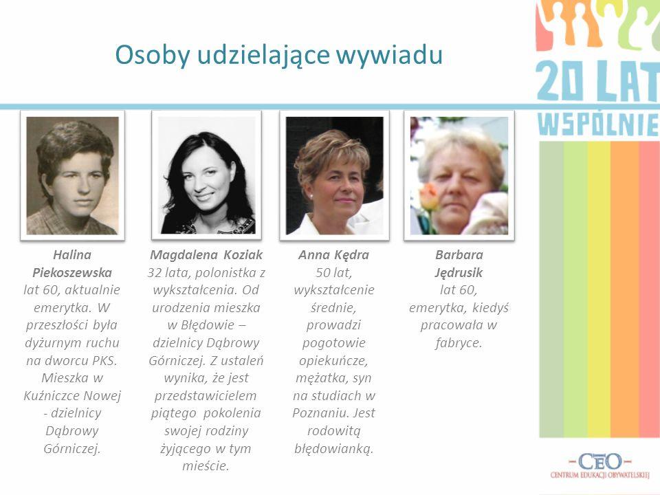 Osoby udzielające wywiadu Halina Piekoszewska lat 60, aktualnie emerytka.