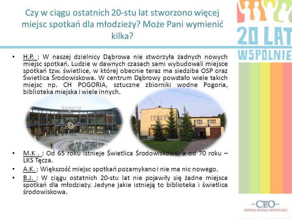 H.P.: W naszej dzielnicy Dąbrowa nie stworzyła żadnych nowych miejsc spotkań.