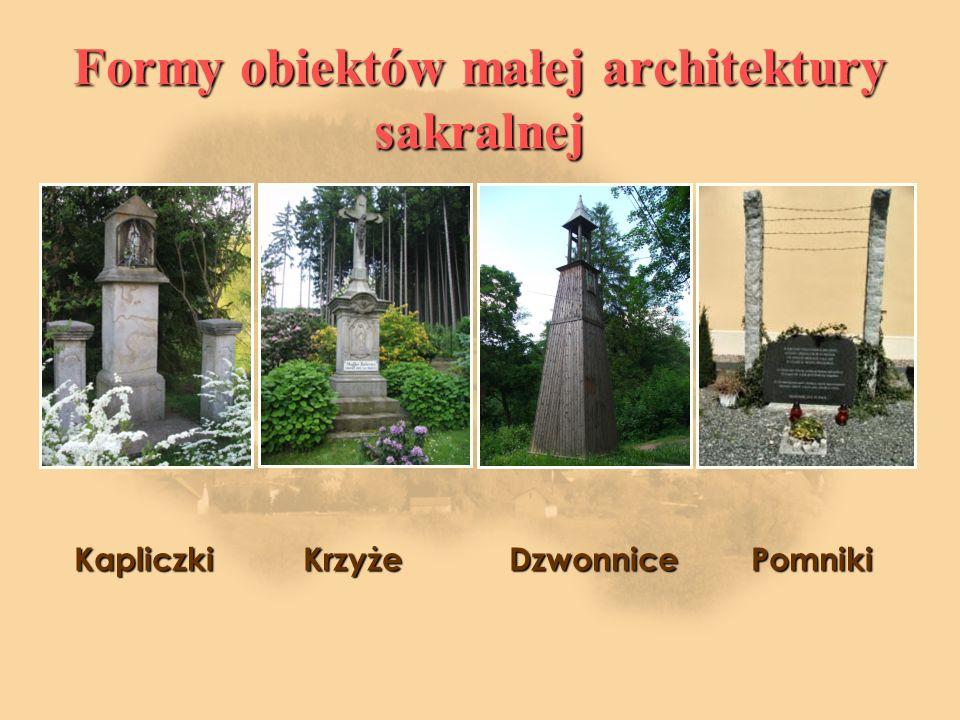 Formy obiektów małej architektury sakralnej Kapliczki Krzyże Dzwonnice Pomniki