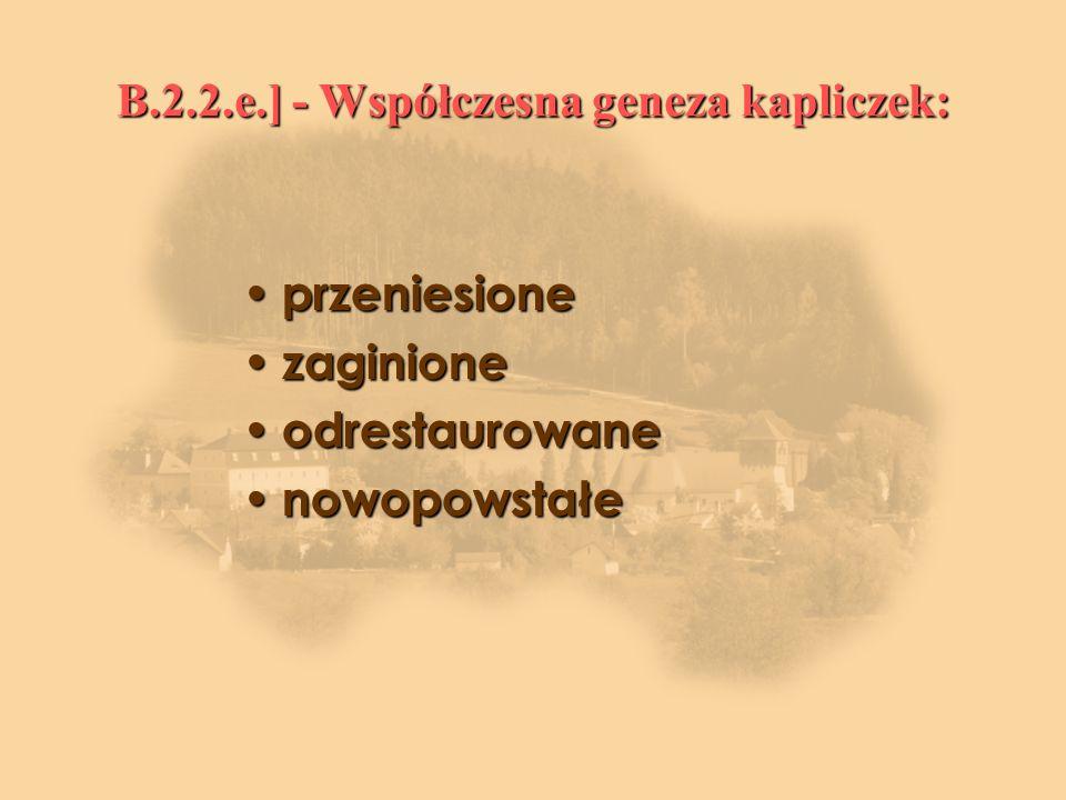 B.2.2.e.] - Współczesna geneza kapliczek: przeniesione przeniesione zaginione zaginione odrestaurowane odrestaurowane nowopowstałe nowopowstałe