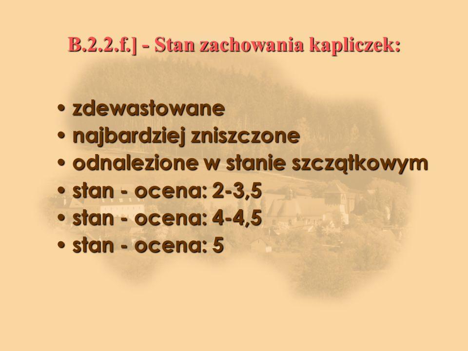B.2.2.f.] - Stan zachowania kapliczek: zdewastowane zdewastowane najbardziej zniszczone najbardziej zniszczone odnalezione w stanie szczątkowym odnalezione w stanie szczątkowym stan - ocena: 2-3,5 stan - ocena: 2-3,5 stan - ocena: 4-4,5 stan - ocena: 4-4,5 stan - ocena: 5 stan - ocena: 5