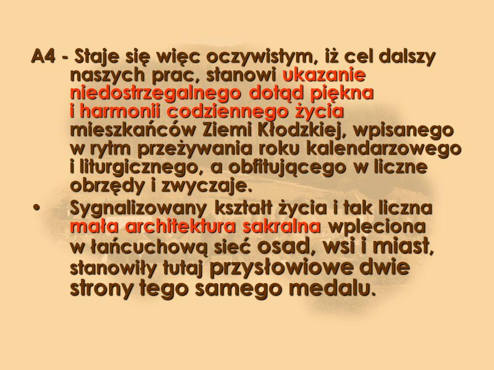 (C) WSTĘPNE WNIOSKI C1) Naturalnie, byłaby niezwykle ciekawą i korzystną prezentacja pełnej charakterystyki małej architektury sakralnej powstałej w ostatnich dwóch stuleciach na Ziemi Kudowskiej, chociażby pod względem przesłania religijnego, wartości artystycznej, czy też z perspektywy takich dyscyplin jak historia duchowości i kultury, etnografia, socjologia, itd.).