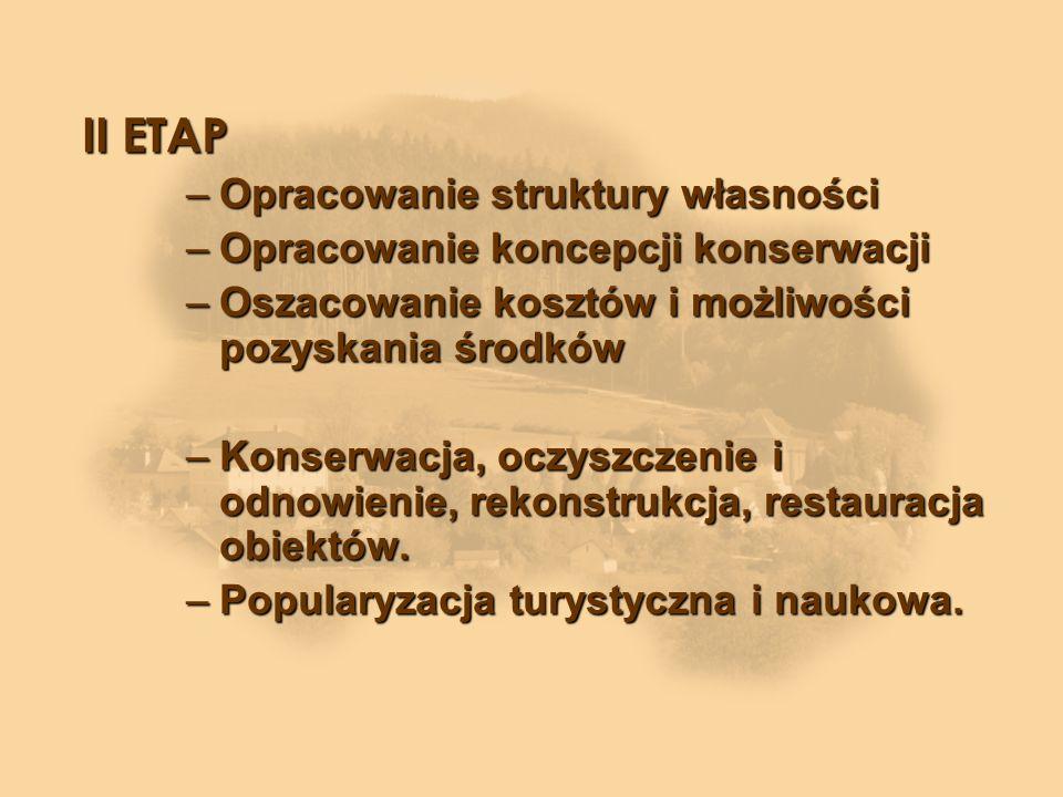 II ETAP –Opracowanie struktury własności –Opracowanie koncepcji konserwacji –Oszacowanie kosztów i możliwości pozyskania środków –Konserwacja, oczyszczenie i odnowienie, rekonstrukcja, restauracja obiektów.