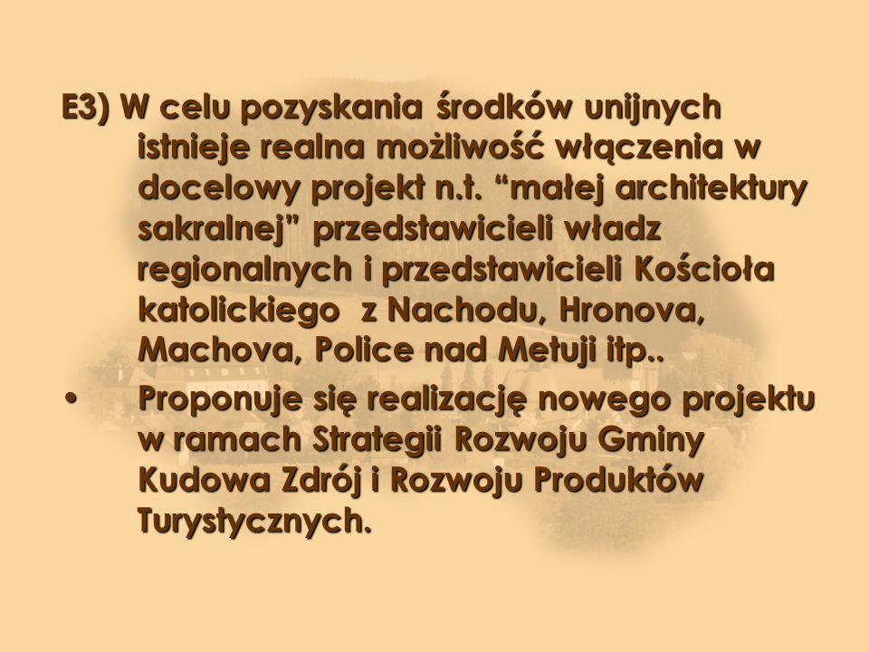 E3) W celu pozyskania środków unijnych istnieje realna możliwość włączenia w docelowy projekt n.t.