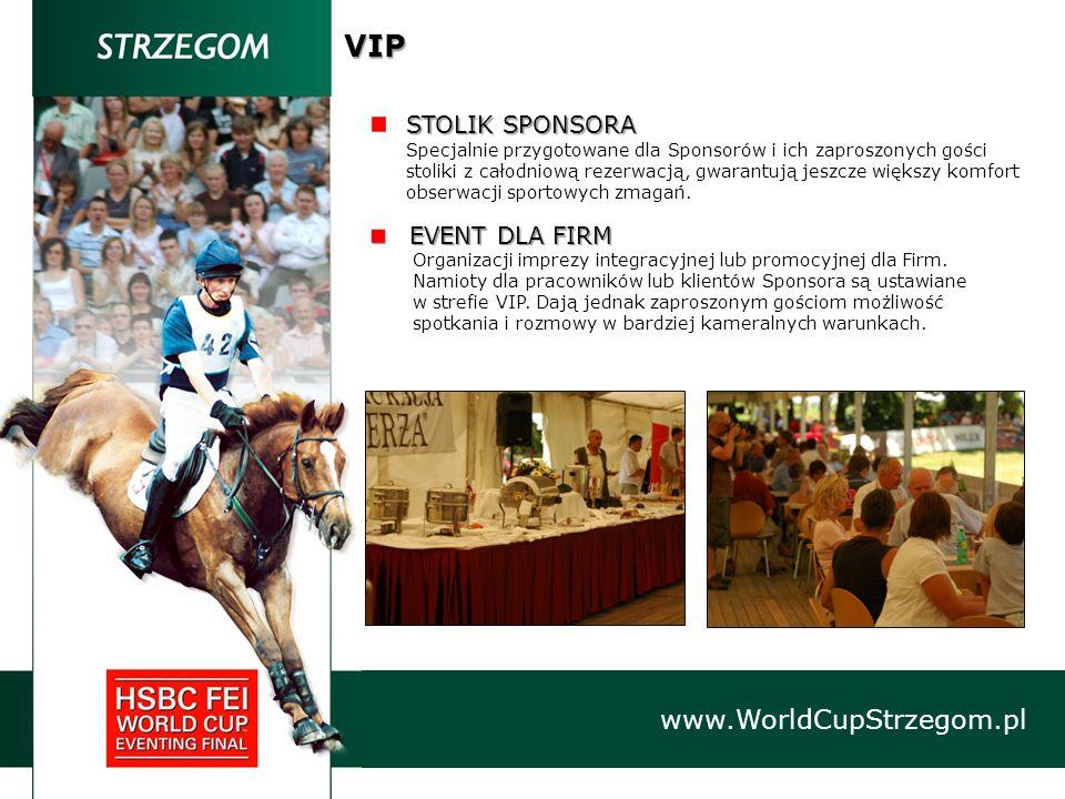 VIP www.WorldCupStrzegom.pl STOLIK SPONSORA Specjalnie przygotowane dla Sponsorów i ich zaproszonych gości stoliki z całodniową rezerwacją, gwarantują