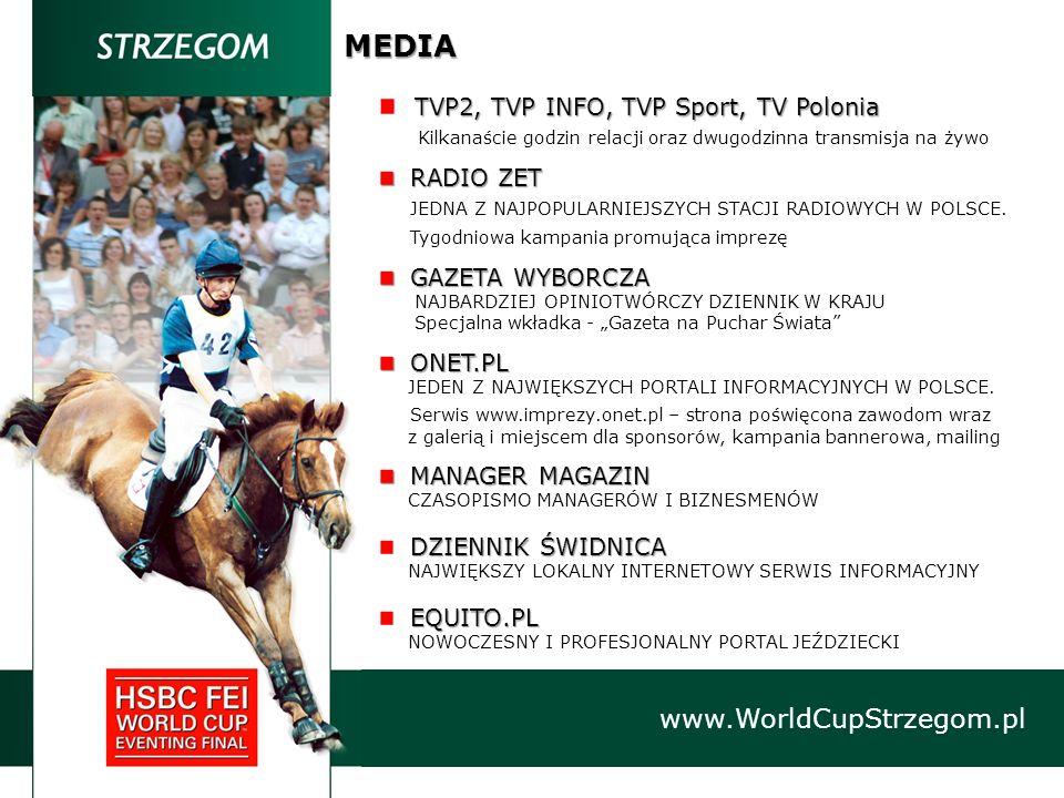 MEDIA TVP2, TVP INFO, TVP Sport, TV Polonia Kilkanaście godzin relacji oraz dwugodzinna transmisja na żywo RADIO ZET RADIO ZET JEDNA Z NAJPOPULARNIEJS