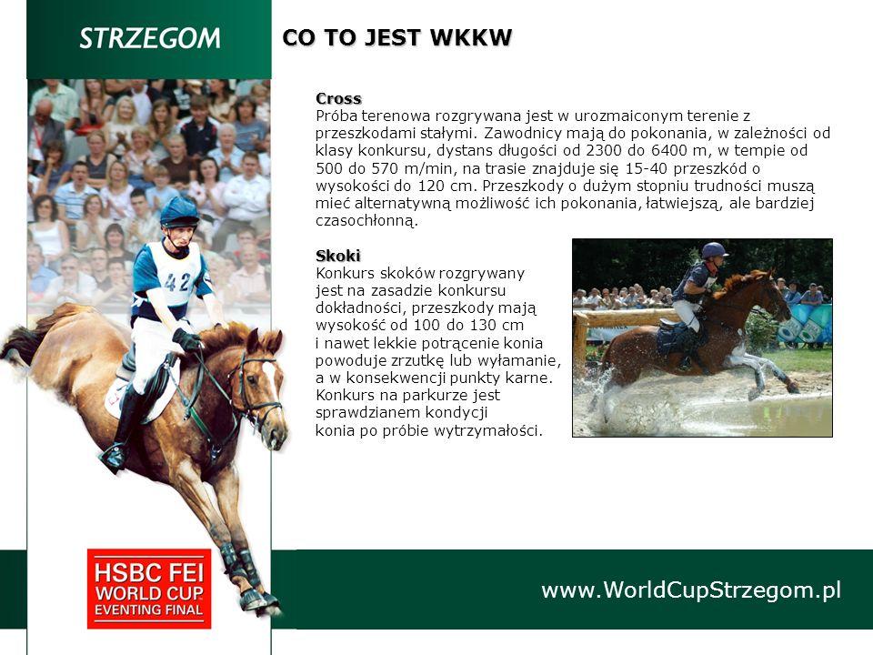 www.WorldCupStrzegom.pl CO TO JEST WKKW Cross Próba terenowa rozgrywana jest w urozmaiconym terenie z przeszkodami stałymi. Zawodnicy mają do pokonani