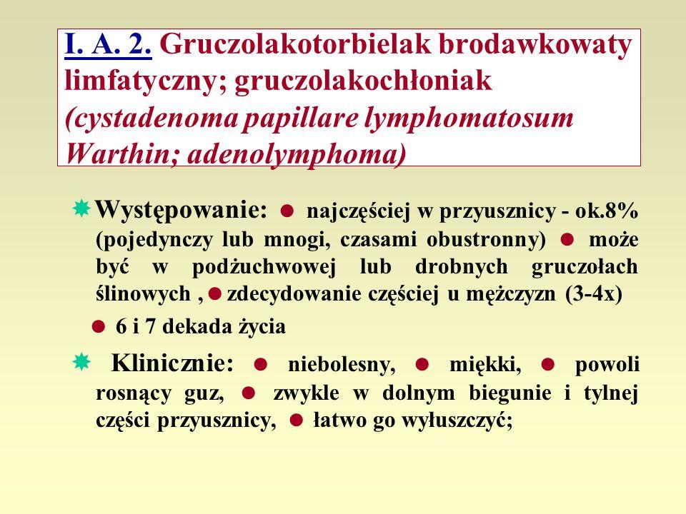 I. A. 2. Gruczolakotorbielak brodawkowaty limfatyczny; gruczolakochłoniak (cystadenoma papillare lymphomatosum Warthin; adenolymphoma) Występowanie: n