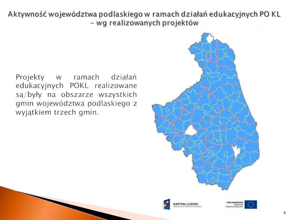 5 Liczba ośrodków wychowania przedszkolnego, które uzyskały wsparcie w ramach działania Liczba dzieci w wieku 3-5 lat, które uczestniczyły w różnych formach edukacji przedszkolnej na obszarach wiejskich Liczba szkół (podstawowych, gimnazjów i ponadgimnazjalnych prowadzących kształcenie ogólne), które zrealizowały projekty rozwojowe w ramach działania: -w tym na obszarach miejskich -w tym na obszarach wiejskich Liczba szkół, które zrealizowały projekty dotyczące indywidualizacji nauczania.