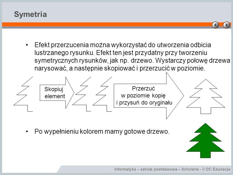 Informatyka – szkoła podstawowa – Scholaris - © DC Edukacja Symetria Efekt przerzucenia można wykorzystać do utworzenia odbicia lustrzanego rysunku. E