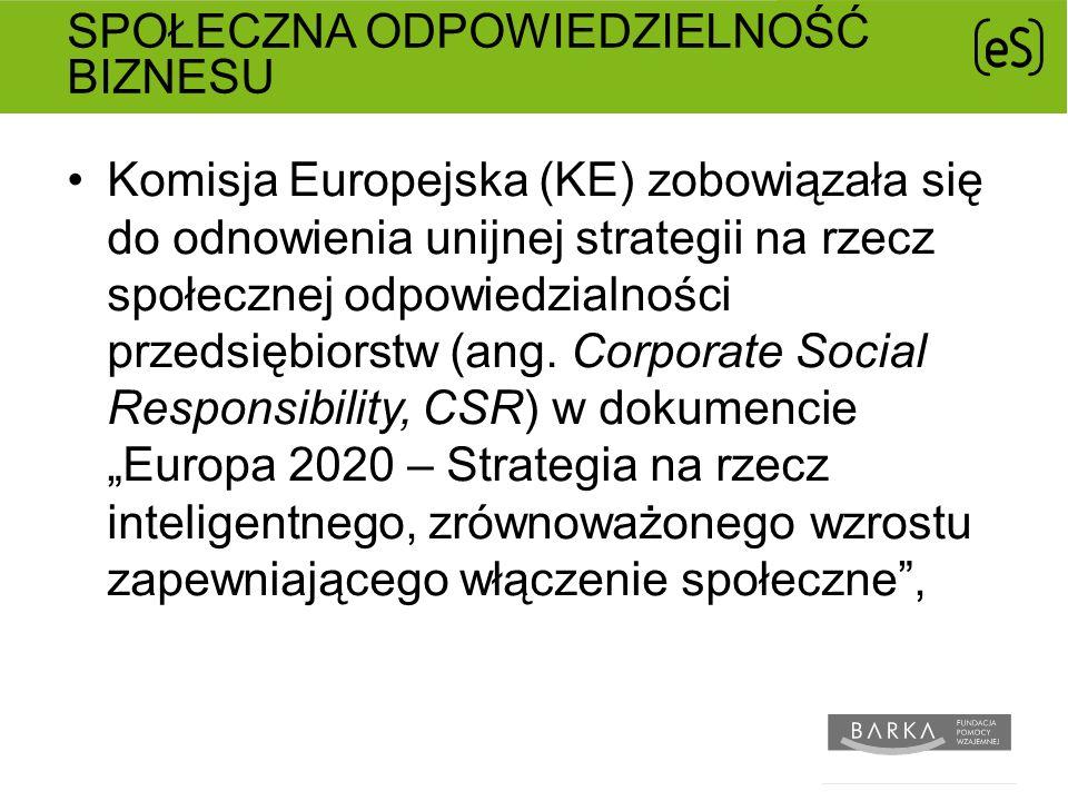 SPOŁECZNA ODPOWIEDZIELNOŚĆ BIZNESU Komisja Europejska (KE) zobowiązała się do odnowienia unijnej strategii na rzecz społecznej odpowiedzialności przedsiębiorstw (ang.