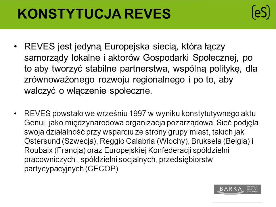 KONSTYTUCJA REVES REVES jest jedyną Europejska siecią, która łączy samorządy lokalne i aktorów Gospodarki Społecznej, po to aby tworzyć stabilne partnerstwa, wspólną politykę, dla zrównoważonego rozwoju regionalnego i po to, aby walczyć o włączenie społeczne.