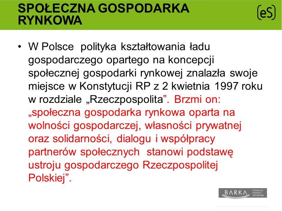 SPOŁECZNA GOSPODARKA RYNKOWA W Polsce polityka kształtowania ładu gospodarczego opartego na koncepcji społecznej gospodarki rynkowej znalazła swoje miejsce w Konstytucji RP z 2 kwietnia 1997 roku w rozdziale Rzeczpospolita.