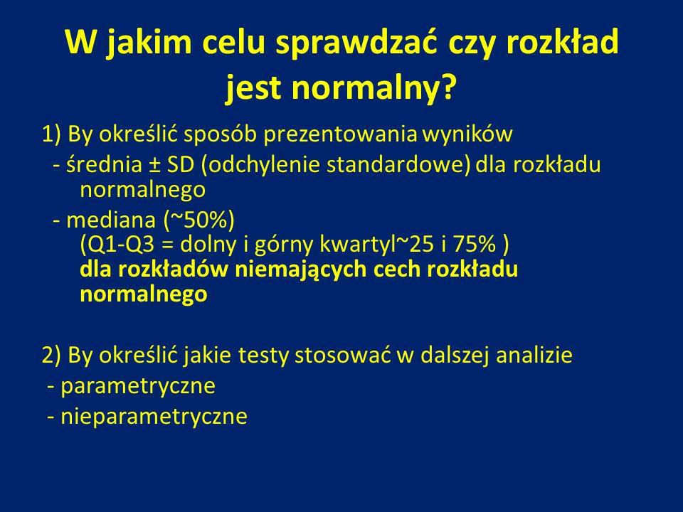 W jakim celu sprawdzać czy rozkład jest normalny? 1) By określić sposób prezentowania wyników - średnia ± SD (odchylenie standardowe) dla rozkładu nor