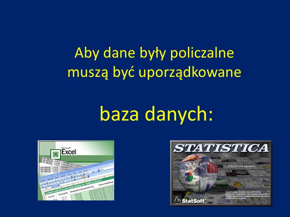 Aby dane były policzalne muszą być uporządkowane baza danych: