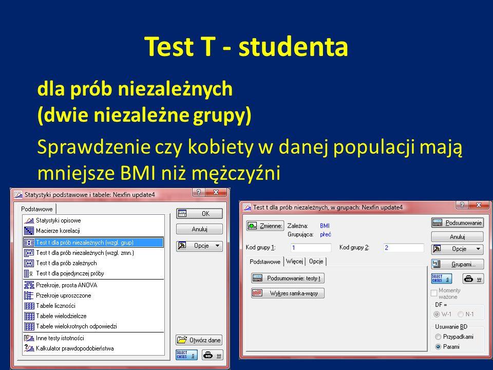 Test T - studenta dla prób niezależnych (dwie niezależne grupy) Sprawdzenie czy kobiety w danej populacji mają mniejsze BMI niż mężczyźni