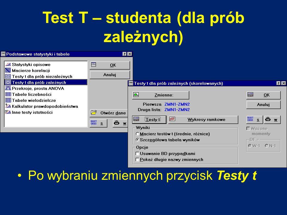 Test T – studenta (dla prób zależnych) Po wybraniu zmiennych przycisk Testy t