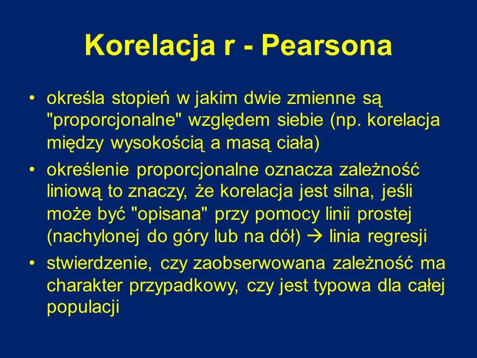 Korelacja r - Pearsona określa stopień w jakim dwie zmienne są