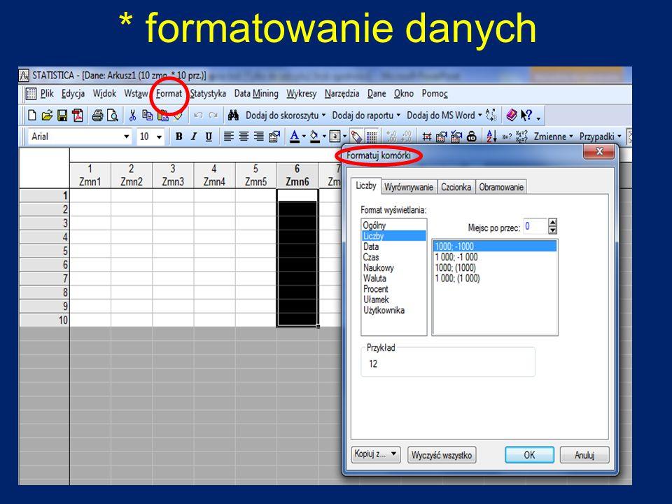 * formatowanie danych