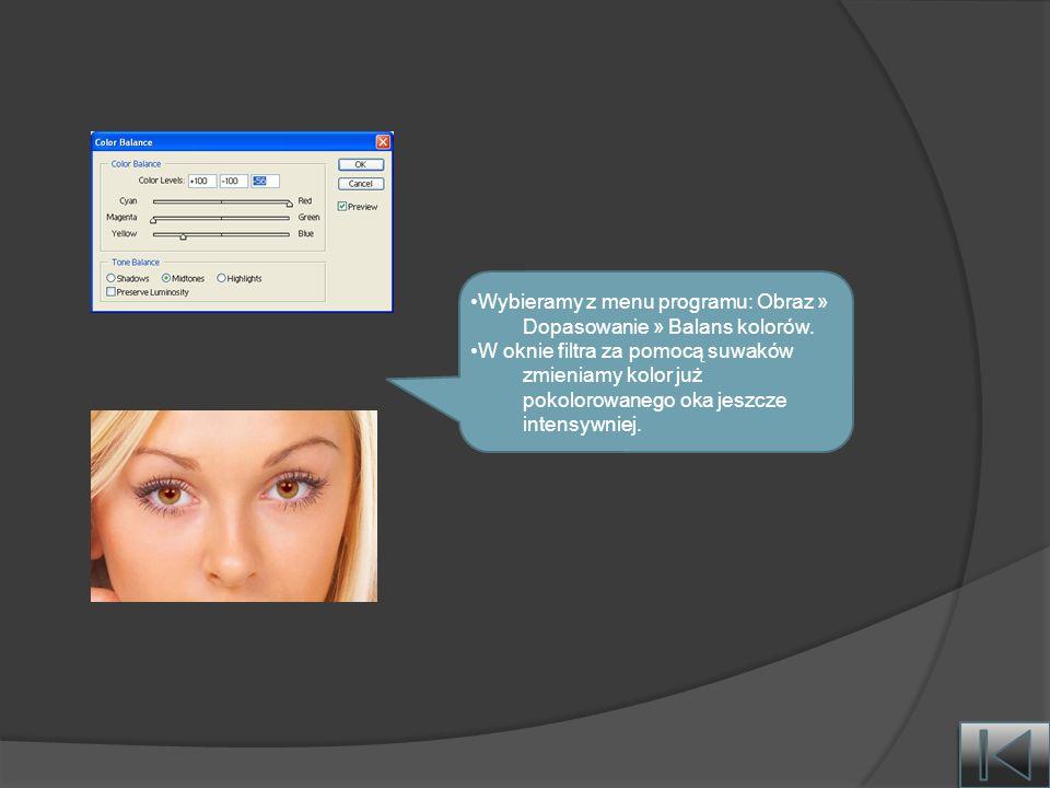 Wybieramy z menu programu: Obraz » Dopasowanie » Balans kolorów.