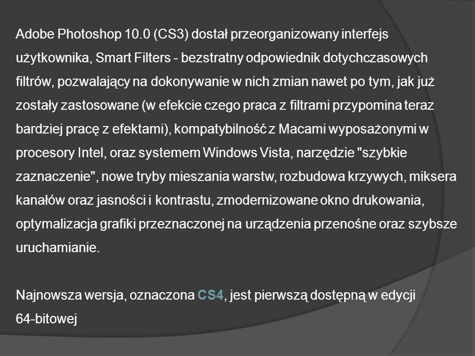 Adobe Photoshop 10.0 (CS3) dostał przeorganizowany interfejs użytkownika, Smart Filters - bezstratny odpowiednik dotychczasowych filtrów, pozwalający na dokonywanie w nich zmian nawet po tym, jak już zostały zastosowane (w efekcie czego praca z filtrami przypomina teraz bardziej pracę z efektami), kompatybilność z Macami wyposażonymi w procesory Intel, oraz systemem Windows Vista, narzędzie szybkie zaznaczenie , nowe tryby mieszania warstw, rozbudowa krzywych, miksera kanałów oraz jasności i kontrastu, zmodernizowane okno drukowania, optymalizacja grafiki przeznaczonej na urządzenia przenośne oraz szybsze uruchamianie.