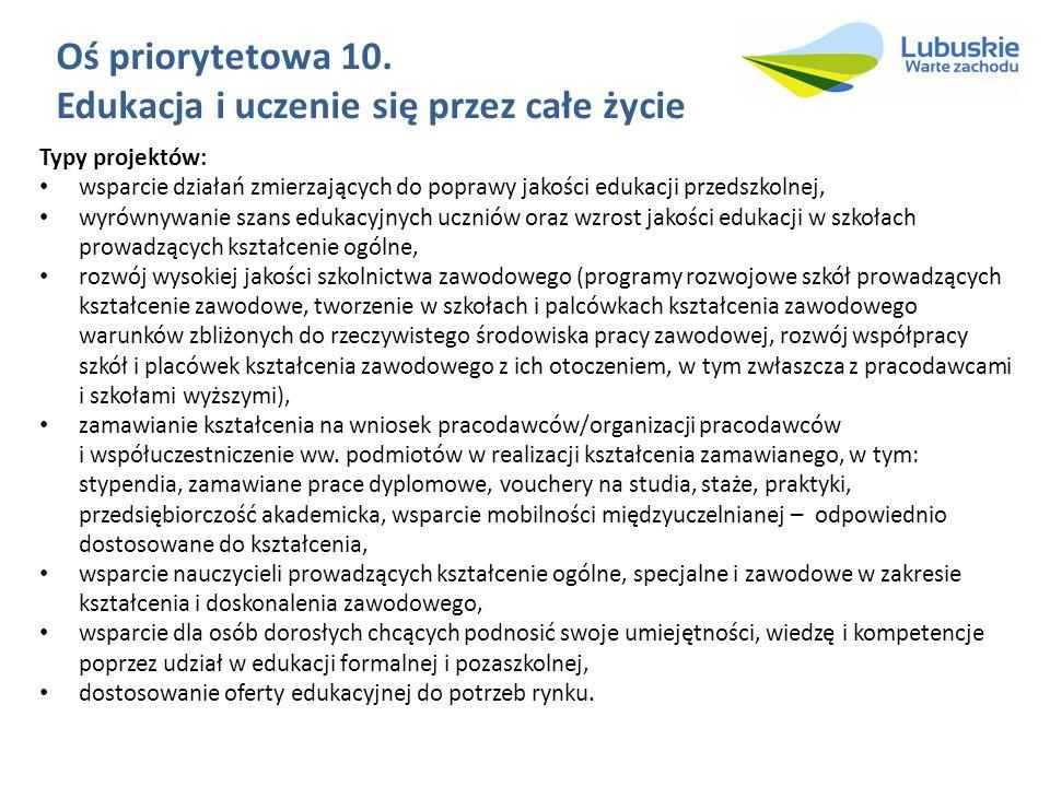 Oś priorytetowa 10. Edukacja i uczenie się przez całe życie Typy projektów: wsparcie działań zmierzających do poprawy jakości edukacji przedszkolnej,