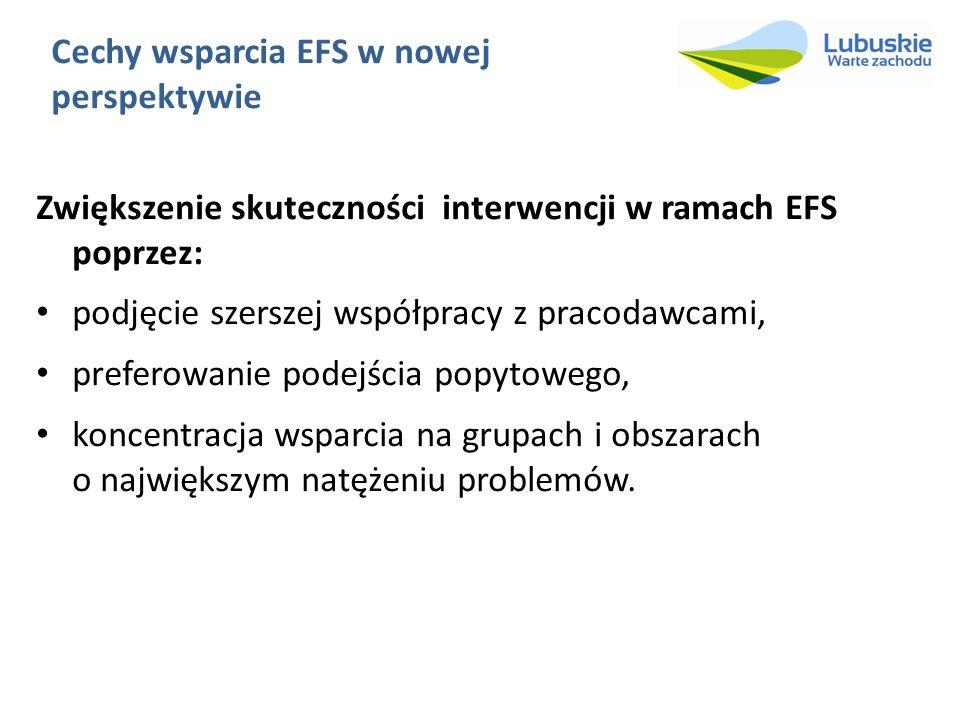 Cechy wsparcia EFS w nowej perspektywie Zwiększenie skuteczności interwencji w ramach EFS poprzez: podjęcie szerszej współpracy z pracodawcami, preferowanie podejścia popytowego, koncentracja wsparcia na grupach i obszarach o największym natężeniu problemów.