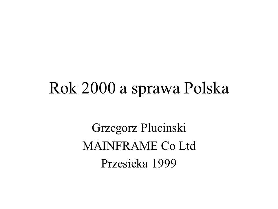 Rok 2000 a sprawa Polska Grzegorz Plucinski MAINFRAME Co Ltd Przesieka 1999