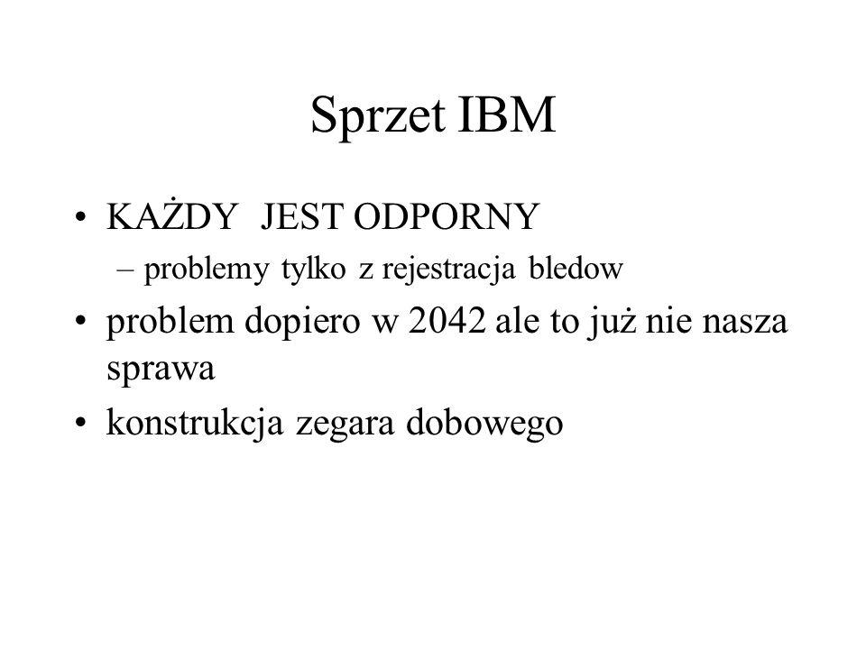Sprzet IBM KAŻDY JEST ODPORNY –problemy tylko z rejestracja bledow problem dopiero w 2042 ale to już nie nasza sprawa konstrukcja zegara dobowego