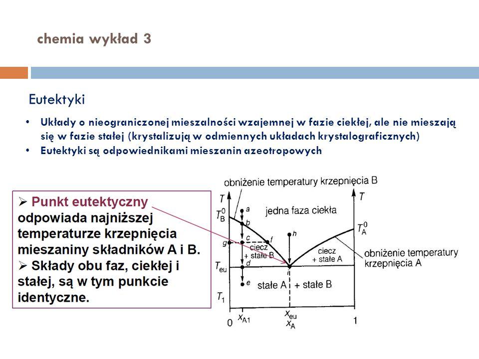 chemia wykład 3 Eutektyki Układy o nieograniczonej mieszalności wzajemnej w fazie ciekłej, ale nie mieszają się w fazie stałej (krystalizują w odmienn