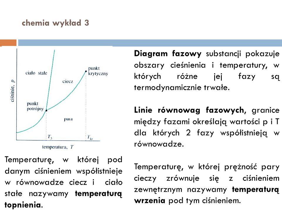 chemia wykład 3 Diagram fazowy substancji pokazuje obszary cieśnienia i temperatury, w których różne jej fazy są termodynamicznie trwałe. Linie równow