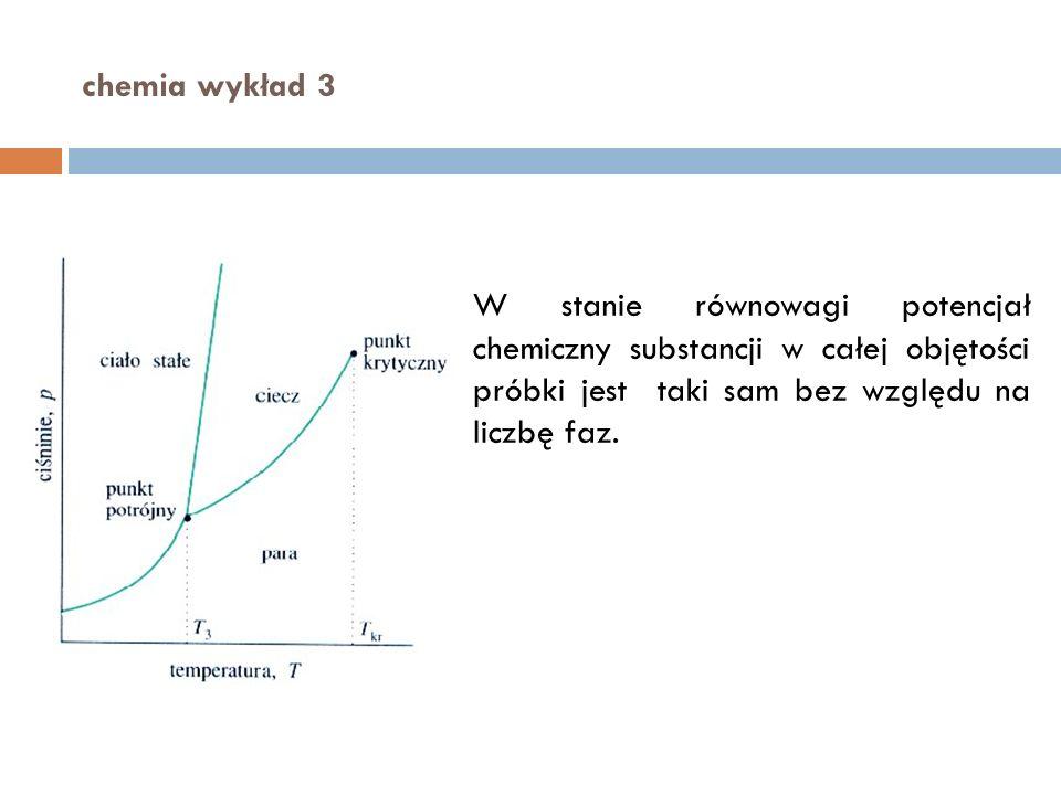 chemia wykład 3 W stanie równowagi potencjał chemiczny substancji w całej objętości próbki jest taki sam bez względu na liczbę faz.