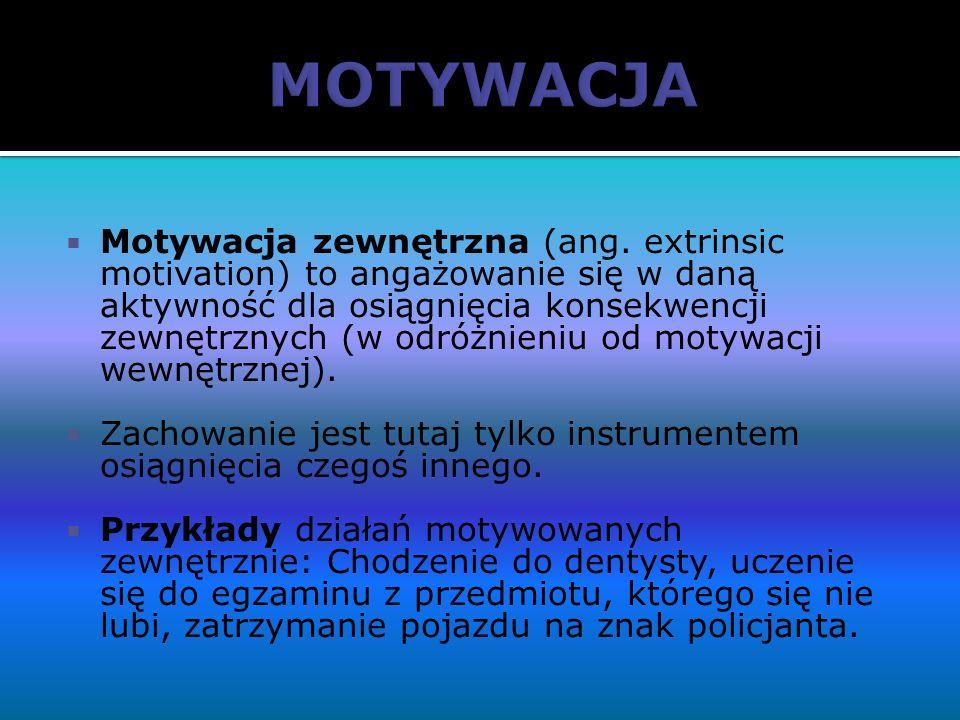 Motywacja zewnętrzna (ang. extrinsic motivation) to angażowanie się w daną aktywność dla osiągnięcia konsekwencji zewnętrznych (w odróżnieniu od motyw