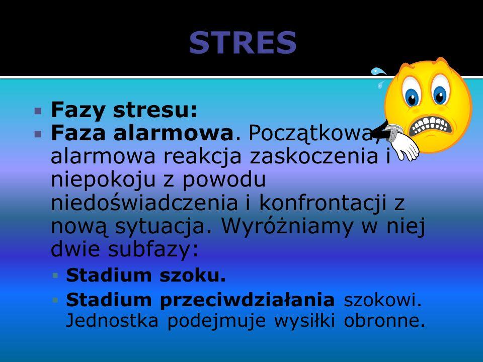 Fazy stresu: Faza alarmowa. Początkowa, alarmowa reakcja zaskoczenia i niepokoju z powodu niedoświadczenia i konfrontacji z nową sytuacja. Wyróżniamy