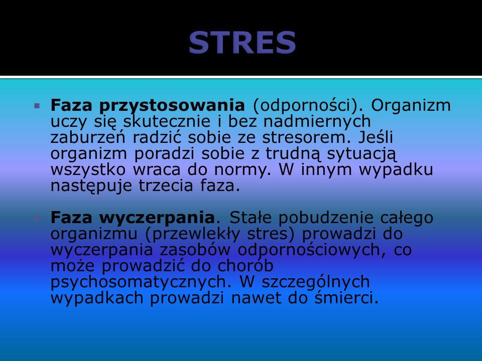 Faza przystosowania (odporności). Organizm uczy się skutecznie i bez nadmiernych zaburzeń radzić sobie ze stresorem. Jeśli organizm poradzi sobie z tr