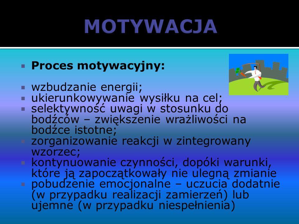 Proces motywacyjny: wzbudzanie energii; ukierunkowywanie wysiłku na cel; selektywność uwagi w stosunku do bodźców – zwiększenie wrażliwości na bodźce
