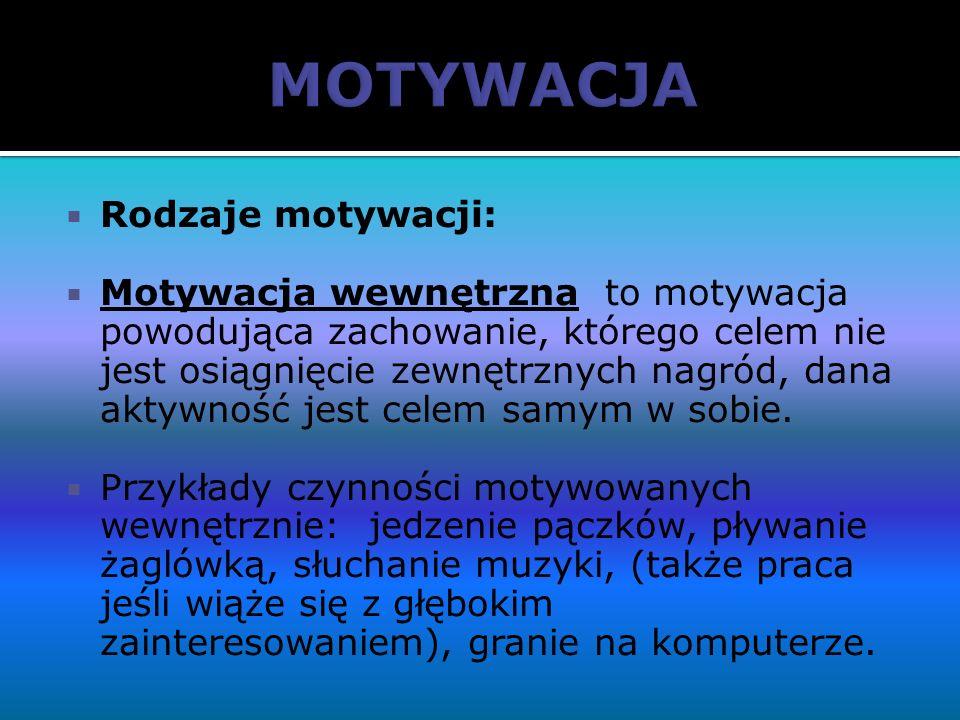 Rodzaje motywacji: Motywacja wewnętrzna to motywacja powodująca zachowanie, którego celem nie jest osiągnięcie zewnętrznych nagród, dana aktywność jes