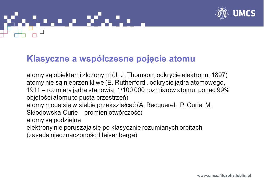 Klasyczne a współczesne pojęcie atomu atomy są obiektami złożonymi (J.