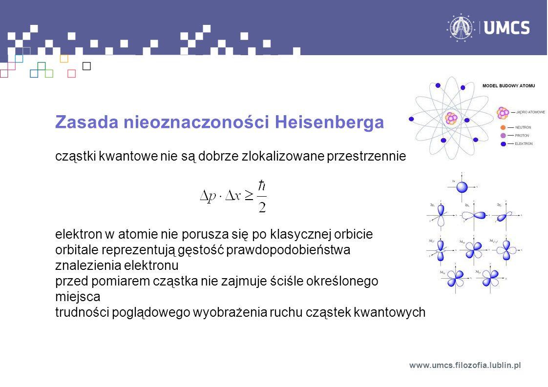 Zasada nieoznaczoności Heisenberga cząstki kwantowe nie są dobrze zlokalizowane przestrzennie elektron w atomie nie porusza się po klasycznej orbicie orbitale reprezentują gęstość prawdopodobieństwa znalezienia elektronu przed pomiarem cząstka nie zajmuje ściśle określonego miejsca trudności poglądowego wyobrażenia ruchu cząstek kwantowych www.umcs.filozofia.lublin.pl