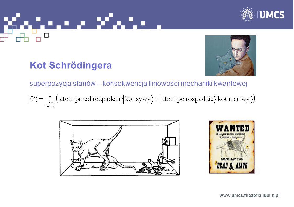Kot Schrödingera superpozycja stanów – konsekwencja liniowości mechaniki kwantowej www.umcs.filozofia.lublin.pl